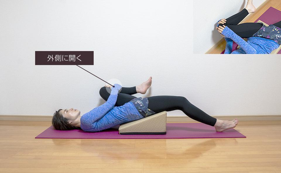 引き寄せた脚を外側に開くと内ももの筋肉が伸びる