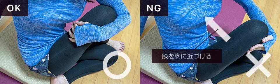 左手で右脚を胸に近づけると伸びやすくなる