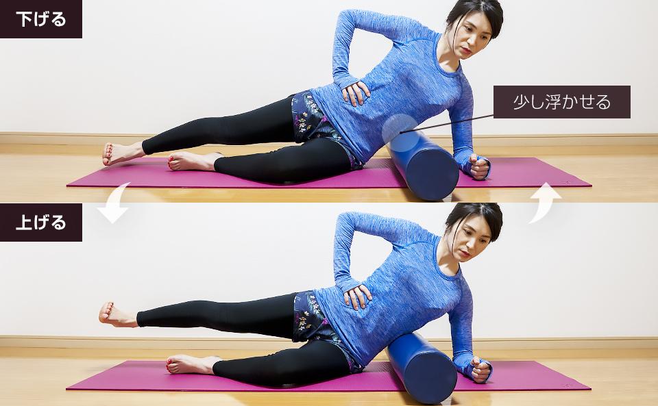 ストレッチポールで太ももの外側の筋肉を鍛えるトレーニング方法