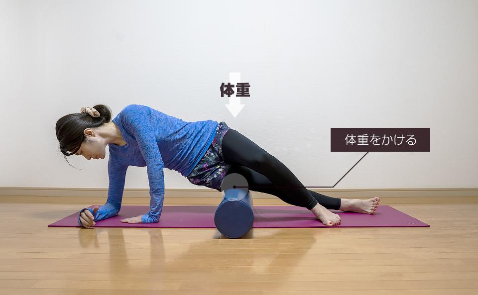 太ももの外側の筋肉の中心部をほぐす