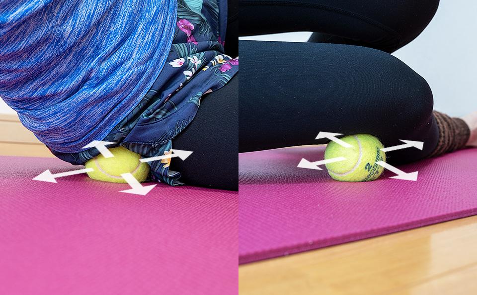 テニスボールで停止部分に体重をかける