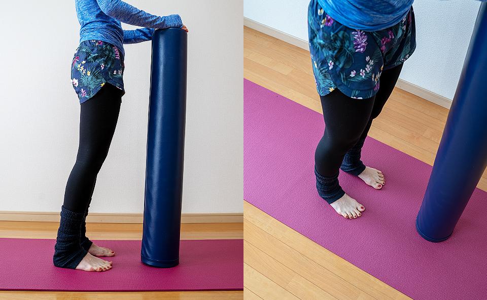 腰幅に足を開き背筋を伸ばして立つ