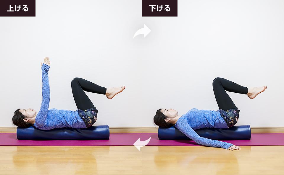 腹式呼吸を行いながら右手を上げ下げしインナーユニットを活性化させる
