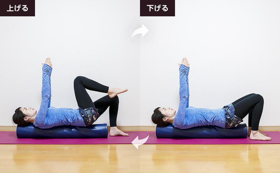 腹式呼吸を行いながら右脚を上げ下げしインナーユニットを活性化させる