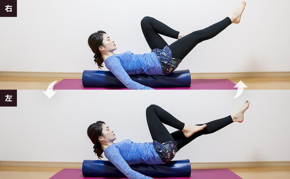 腹直筋と大腰筋を鍛えるトレーニング「カラダを起こして + 両脚を上げ + 脚を交互に曲げ伸ばしする」