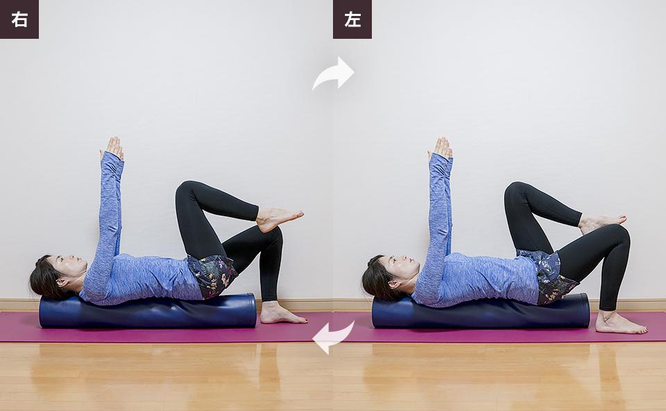 腹式呼吸を行いながら右脚を上げ下げする