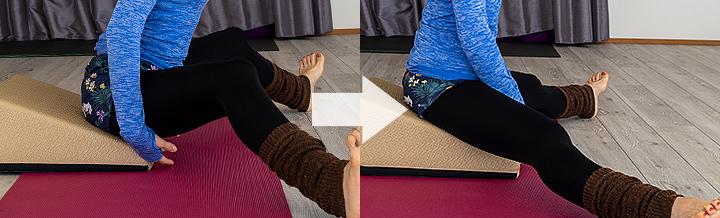 膝が伸びない方は膝を曲げて行う。慣れてきたら徐々に膝を伸ばして行う。