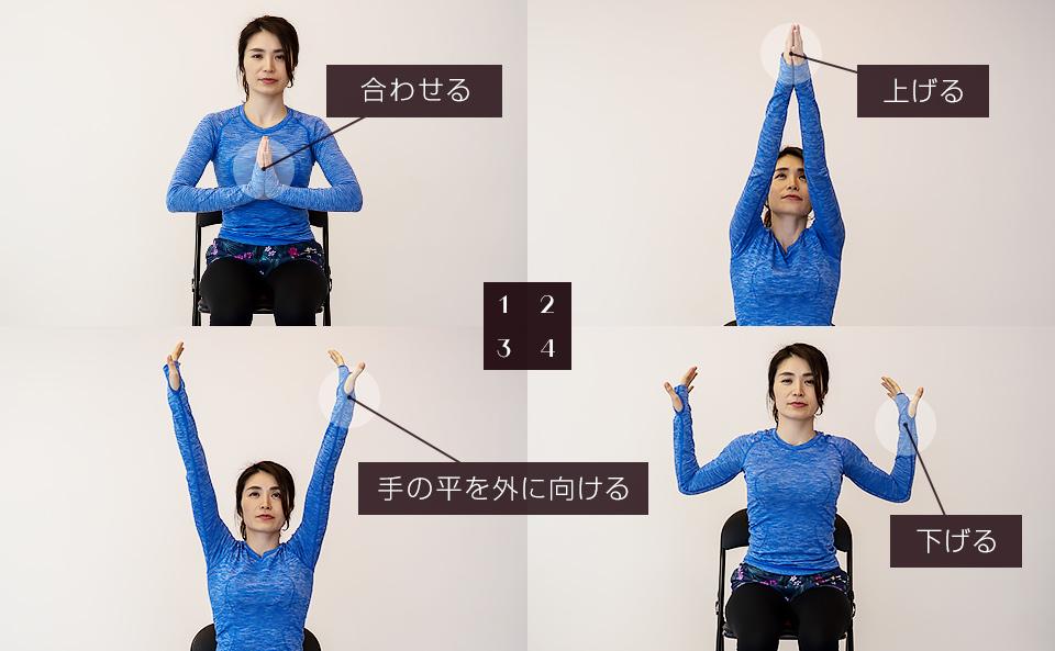 ひめトレエクササイズ「両腕を上げて手の平を外側に向けながら腕を下ろす」