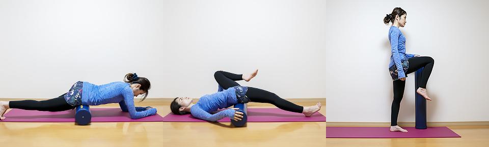 ストレッチポールをコロコロ転がして筋肉をほぐしたり、ストレッチやトレーニングの補助道具として使う