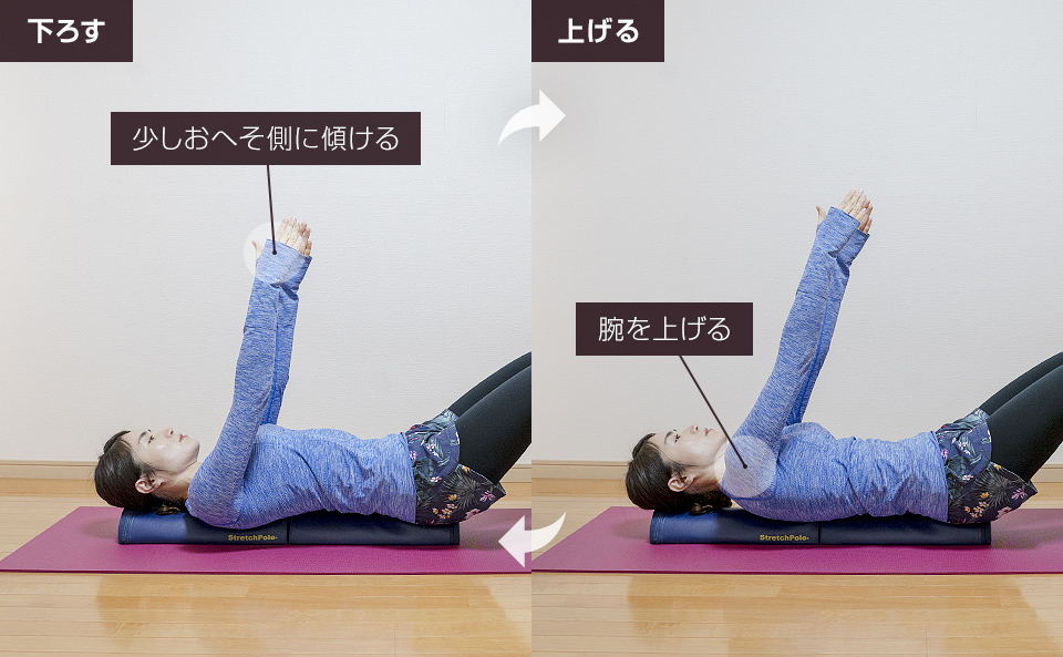 2「腕を持ち上げる肩甲骨の運動」