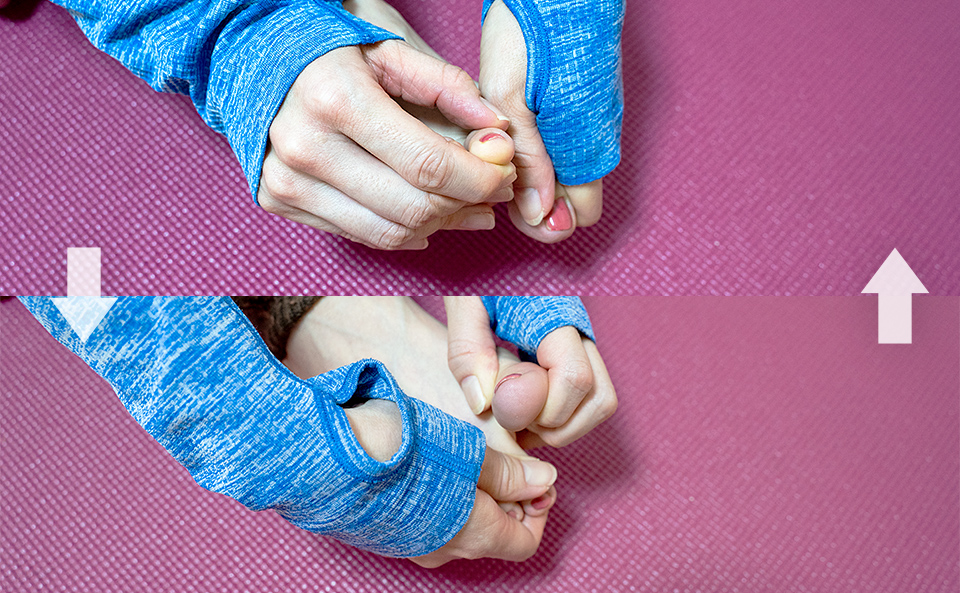親指を下げる上げる