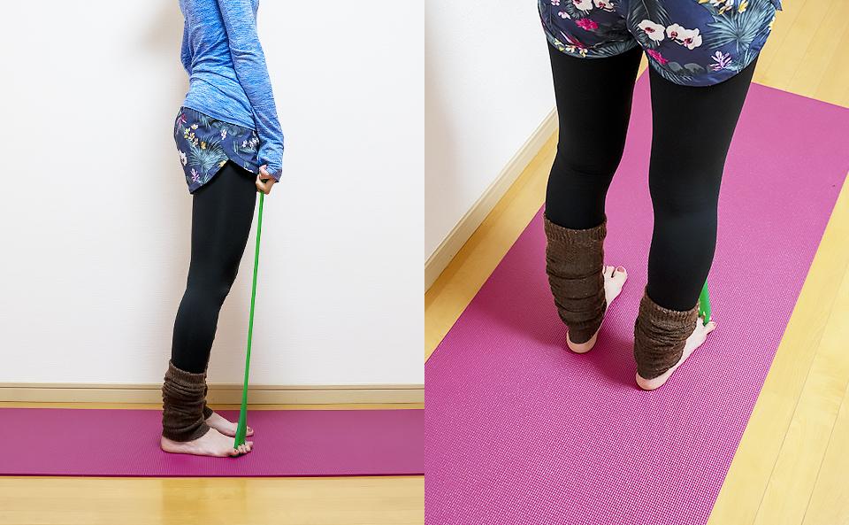 フロッグハンドを握り足の幅を腰幅くらいにして立つ