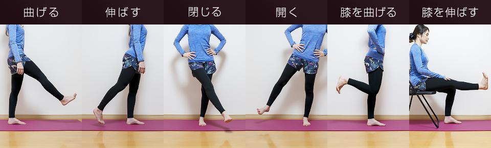 股関節を曲げる・伸ばす・閉じる・開く・膝を伸ばす・曲げる