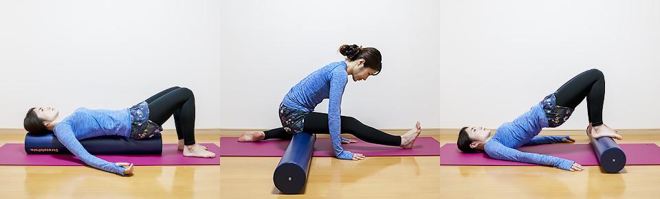 ストレッチポールは仰向けに乗る以外にも筋肉をコロコロほぐしたり・ストレッチや筋トレの補助道具として使用できる