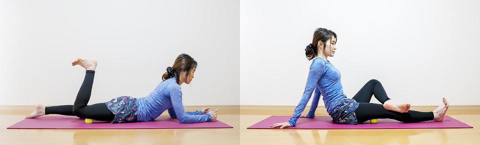 テニスボールを使うと床に横になって座って簡単に太ももをほぐすことができる