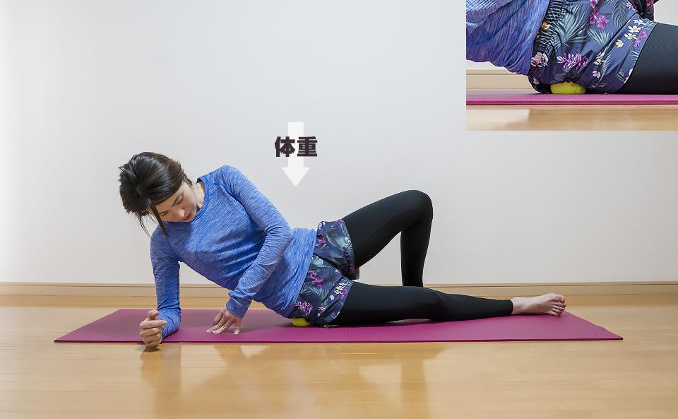 筋肉がほぐれるように体重をかけ