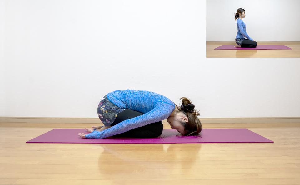 腰回りの筋肉が伸びるように体を前に倒し頭を床につける