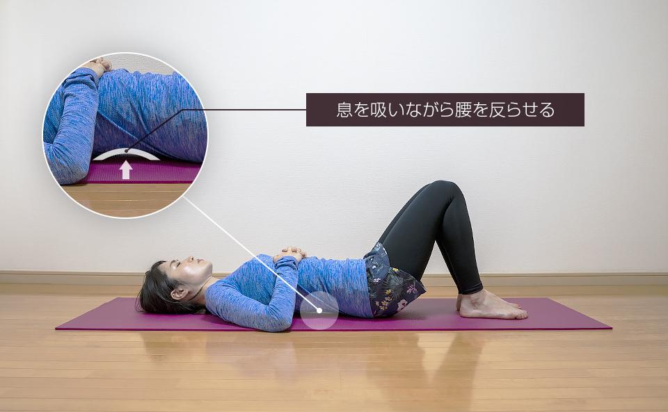 息を吸いながらお腹を膨らませ腰を反らせる