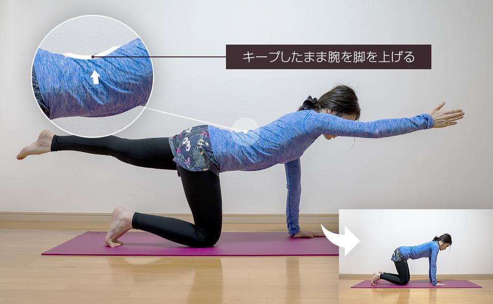 カラダのバランスが崩れないように右腕と左脚を伸ばす