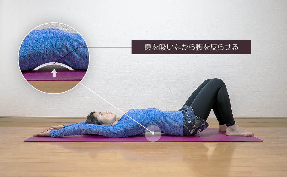 両腕を頭の上に伸ばし息を吸いながら腰を反らせる