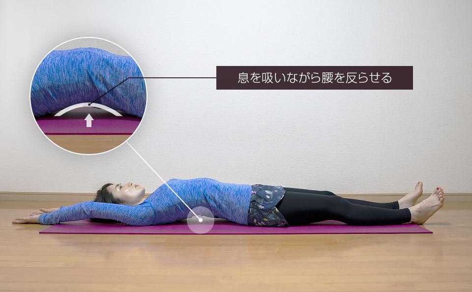 両手両脚を伸ばし息を吸いながら腰を反らせる