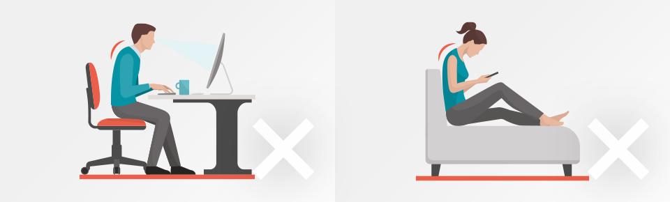 長時間のパソコン作業・スマートフォン操作は肩や腰への負担が大きくなる