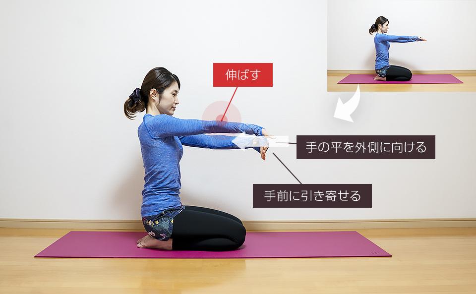 手の平を外側に向けて手を曲げる肘のストレッチ