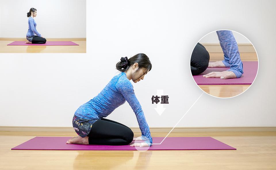 腕の筋肉が伸びるように腕に体重を乗せる