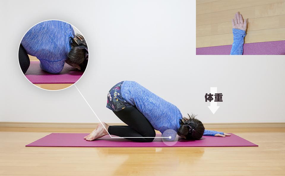 右の肩周りの筋肉が伸びるように体重を下にかける
