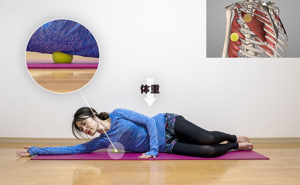 呼吸をしながら筋肉がほぐれるように体重をかける