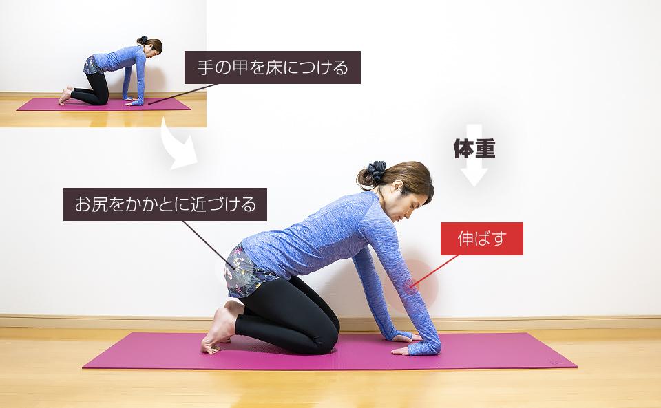 手の甲を床につける肘のストレッチ