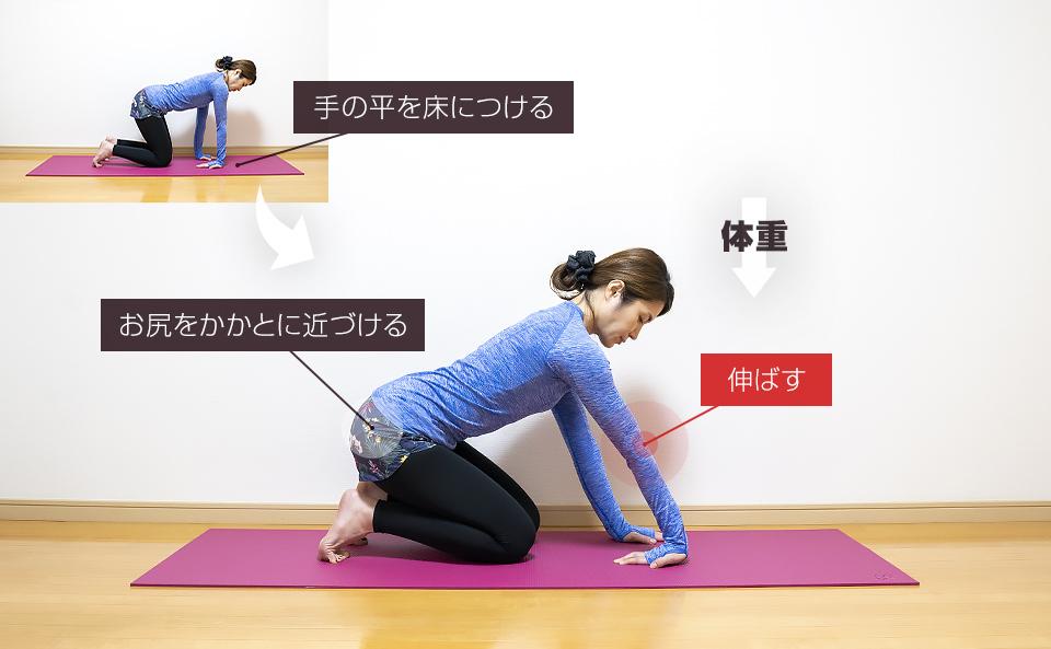 手の平を床につける肘のストレッチ