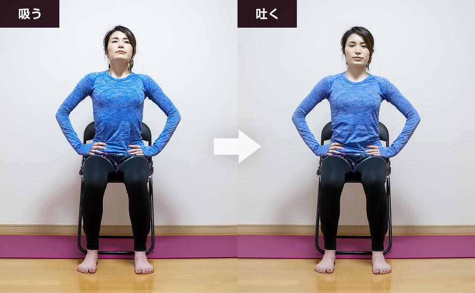 腹横筋のトレーニング「お腹に力を入れて胸を動かす呼吸法」