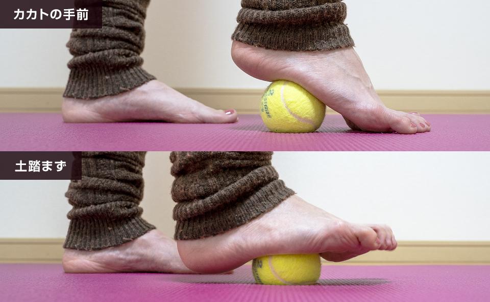 テニスボールを使って足裏をマッサージする方法