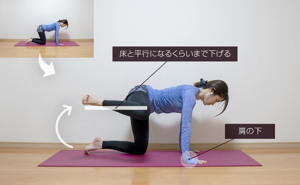 四つん這いで脚を横に上げ下げするトレーニング