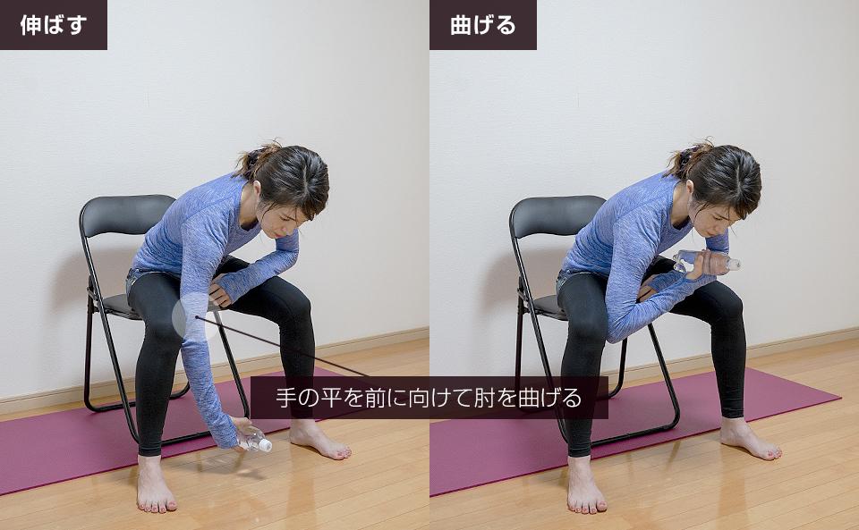 手の平を前に向けた状態で肘を曲げ伸ばしする