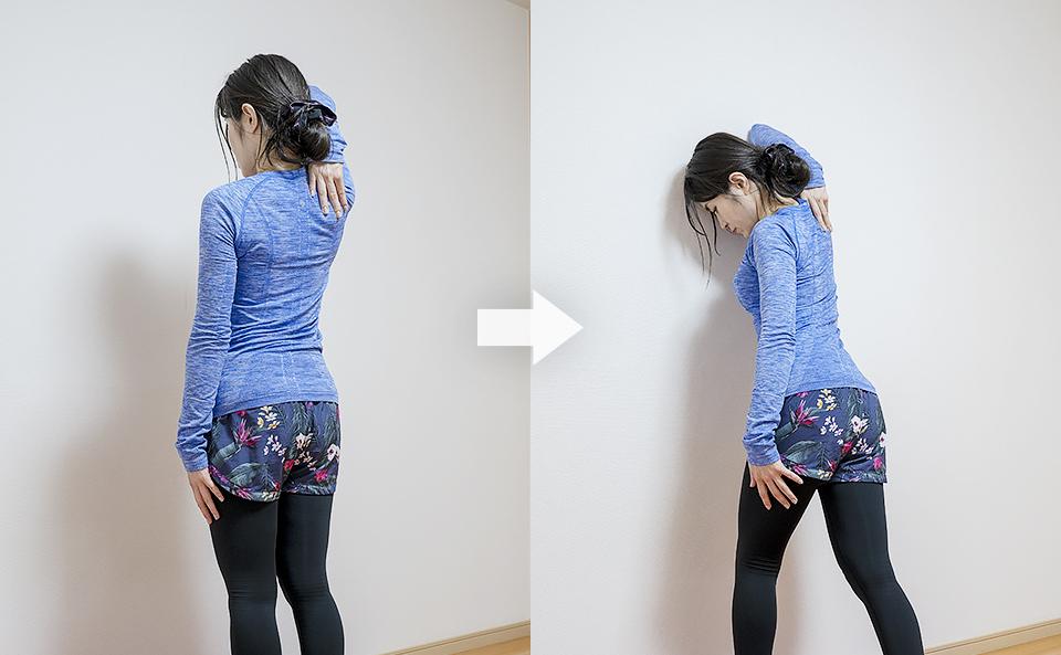 立ったまま壁を使う腕のストレッチ