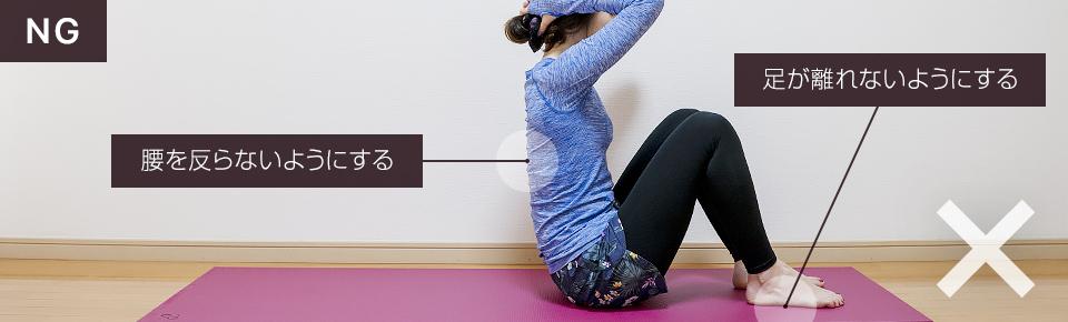 シットダウンのNG「腰を反らないように、足が床から離れないように注意する」