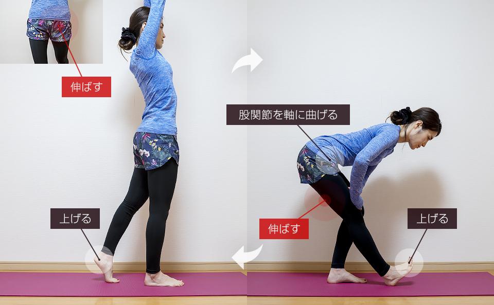 股関節の動的ストレッチ「リーチアップ&ハムストリングスストレッチ」