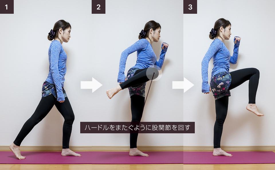 股関節の動的ストレッチ「レッグサークル」立位