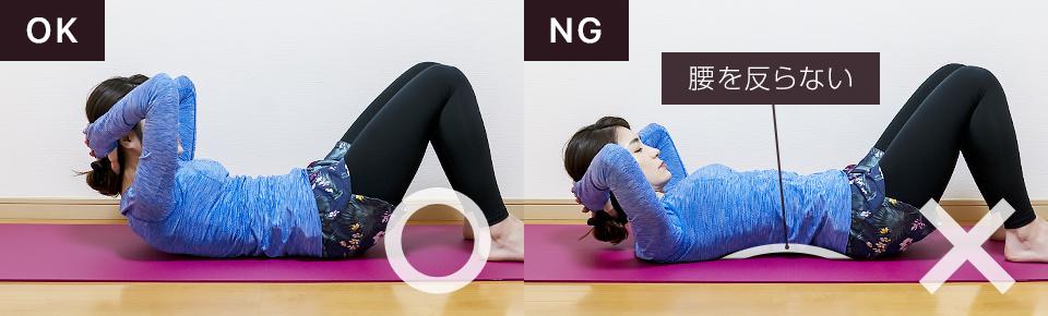 腹直筋の筋トレ「クランチ」NG「腰を反らないように注意」