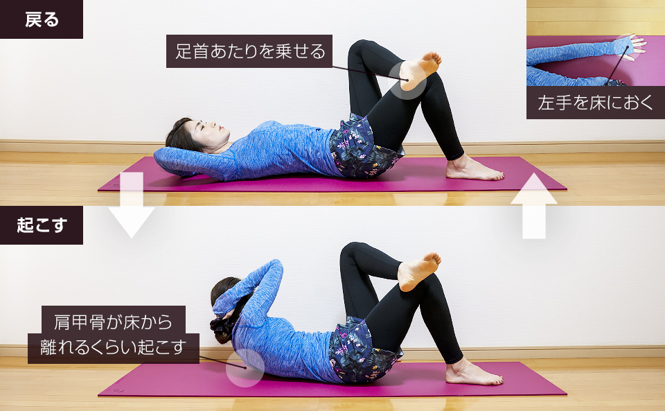 腹斜筋の筋トレ「ツイスティングクランチ・上体を起こす」