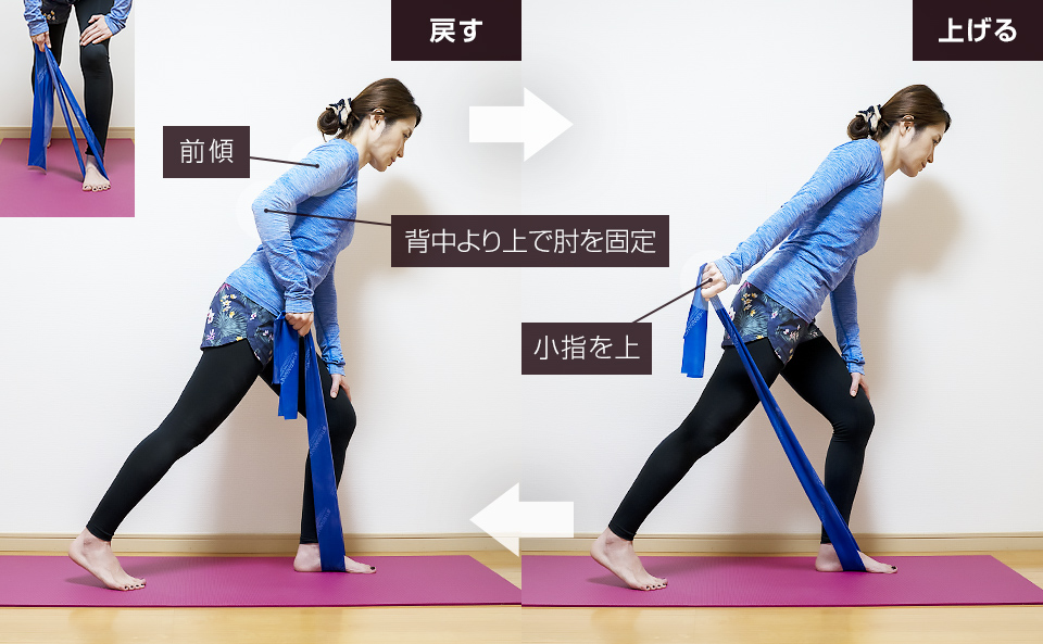 トレーニングチューブで二の腕を鍛える使い方「トライセップスキックバック」
