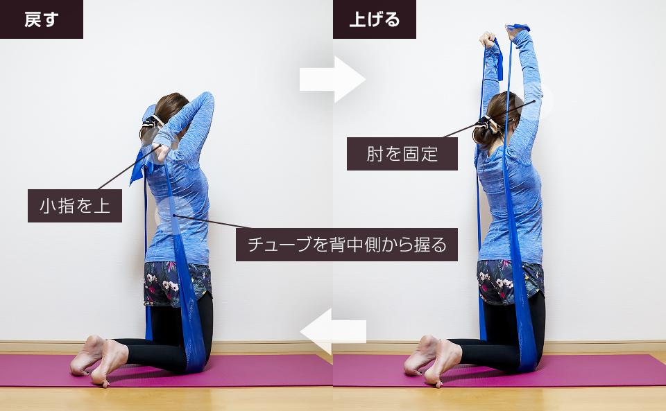 トレーニングチューブで二の腕を鍛える使い方「フレンチプレス」
