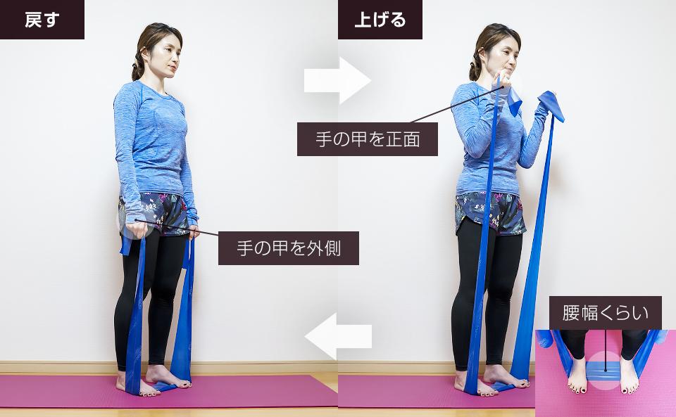 トレーニングチューブで二の腕を鍛える使い方「アームカール」