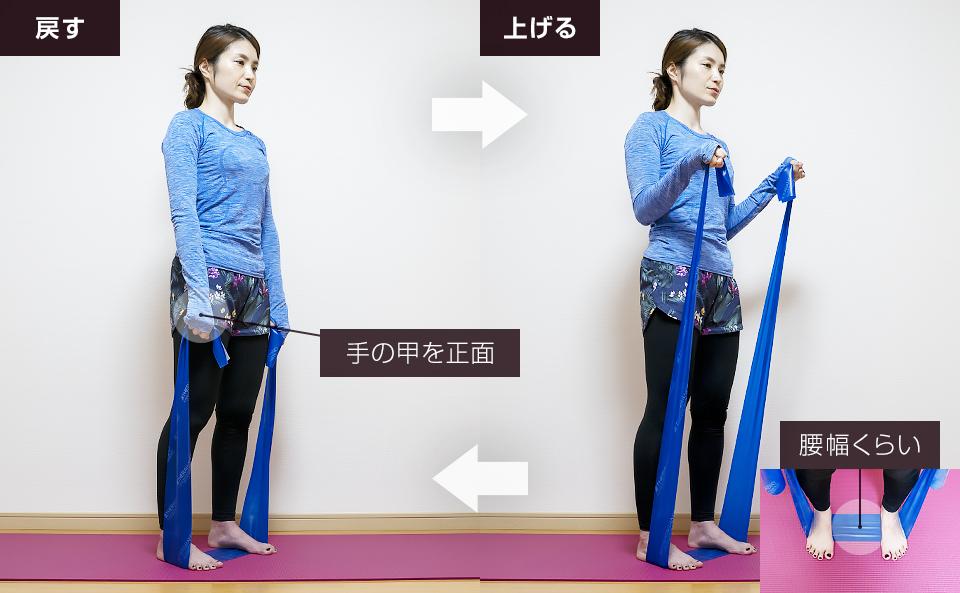 トレーニングチューブで二の腕を鍛える使い方「リバースカール」