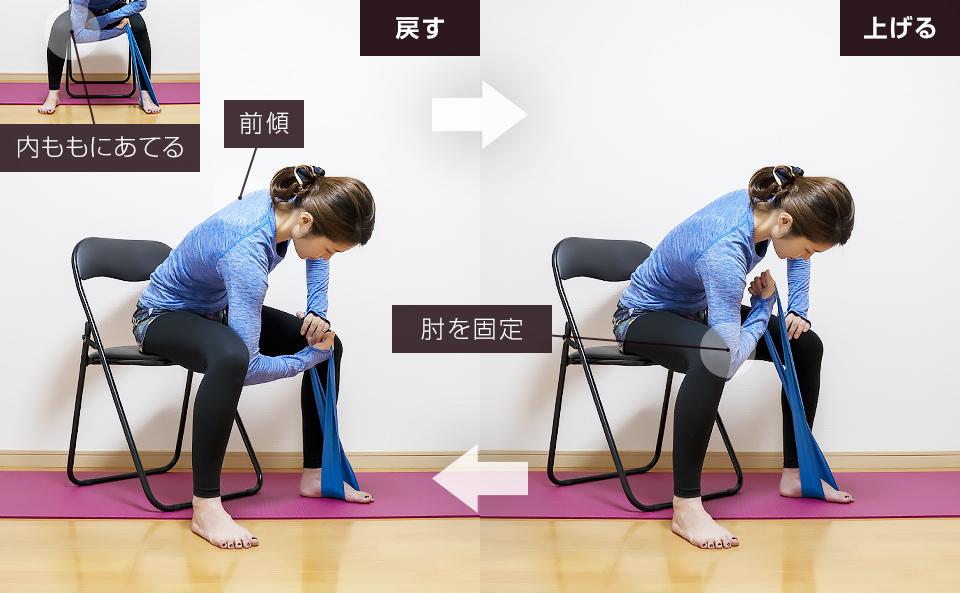 トレーニングチューブで二の腕を鍛える使い方「コンセントレーションカール」
