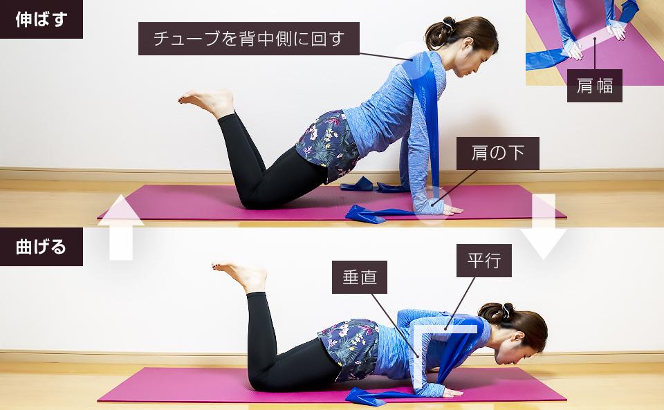 トレーニングチューブで二の腕を鍛える使い方「ナロープッシュアップ」