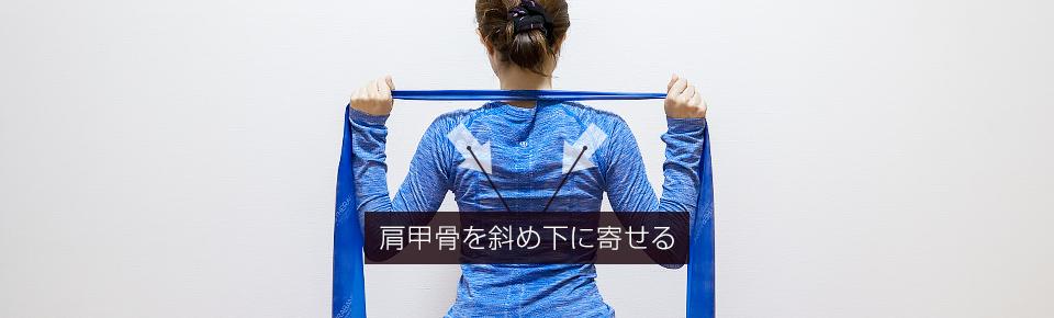 トレーニングチューブ「プルダウン」肩甲骨を斜め下に寄せるように行う