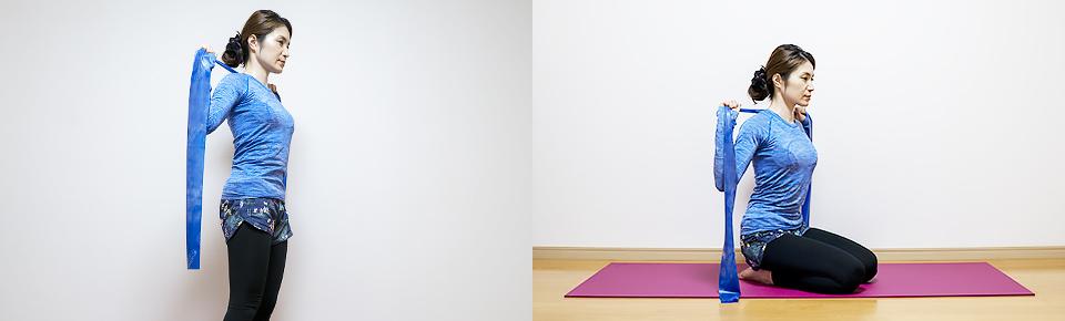 トレーニングチューブ「プルダウン」立って・床に座って行うこともできる
